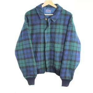 Vintage Pendleton Paid Blue Green Made in USA Wool